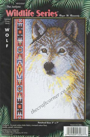Wolf Counted Cross Stitch Kit From The Janlynn Wildlife Series